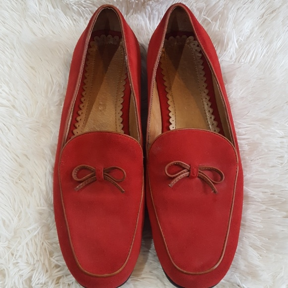 Lands End Red Suede Loafers